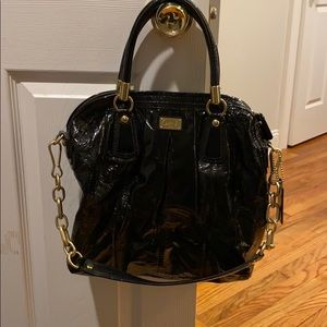 Black paten leather Coach bag
